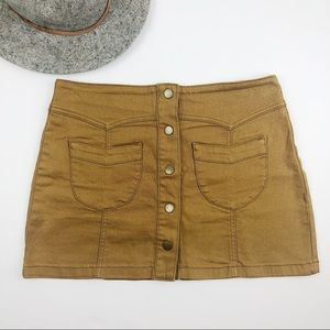 Forever 21 tan button up skirt size 30